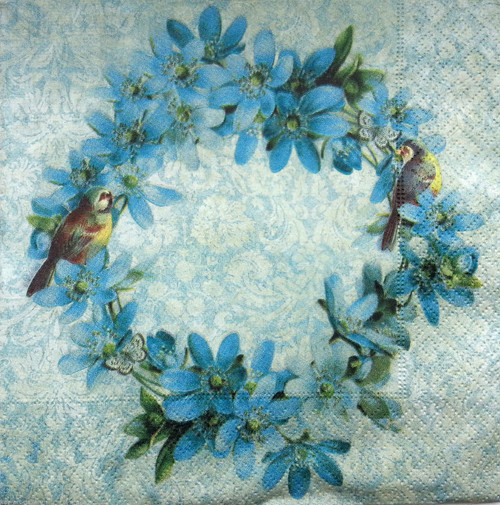 4  Vintage Paper Napkins , Lunch, Table , for Decoupage   - Spring Wreath, Flowers