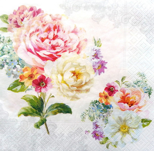 4  Vintage Paper Napkins , Lunch, Table , for Decoupage   - Spring Roses White , Flowers