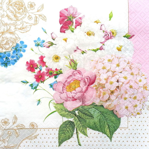 4  Vintage Paper Napkins , Lunch, Table , for Decoupage   - Spring Roses Mix , Flowers