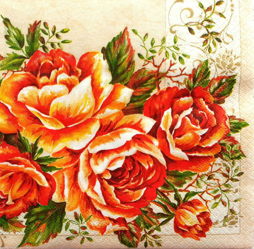 4  Vintage Paper Napkins , Lunch, Table , for Decoupage   - Vintage Roses Alice, Flowers