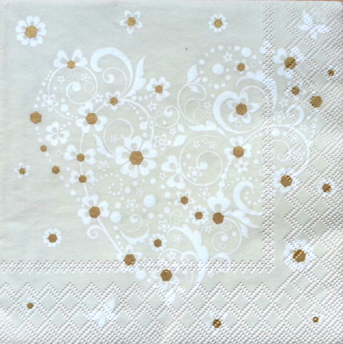 4  Vintage Paper Napkins , Lunch, Table , for Decoupage   - White Heart , Flowers
