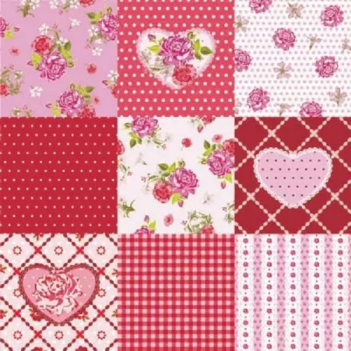 4  Vintage Paper Napkins , Lunch, Table , for Decoupage   - Alice Roses, Hearts 2, Flowers