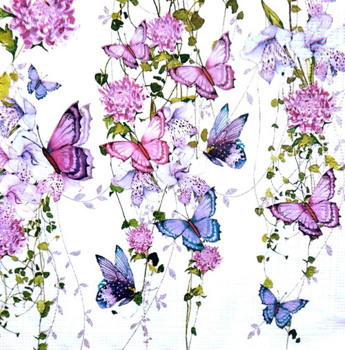 4  Vintage Paper Napkins , Lunch, Table , for Decoupage   - -Butterflies Splash