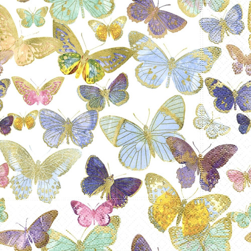 4  Vintage Paper Napkins , Lunch, Table , for Decoupage   - Spring Butterflies