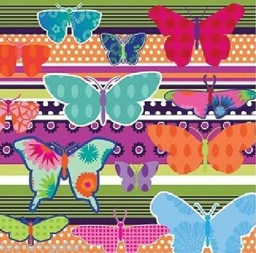 4  Vintage Paper Napkins , Lunch, Table , for Decoupage   -  Butterflies Rainbow