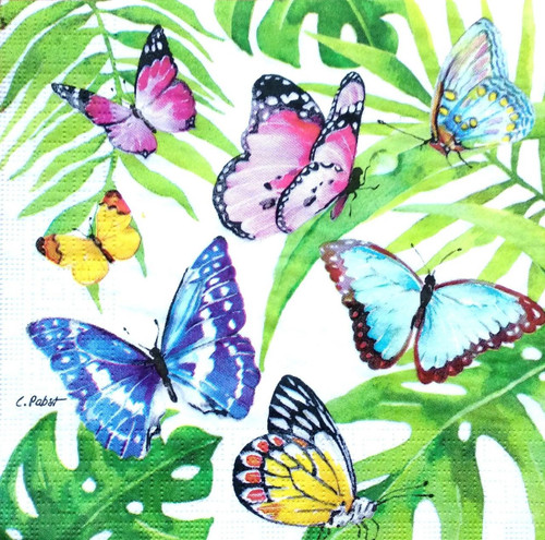 4 Lunch Paper Napkins for Decoupage  - Tropical Butterflies