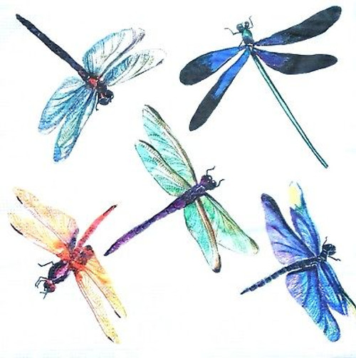 4  Vintage Paper Napkins , Lunch, Table , for Decoupage   - Dragonflies Rainbow