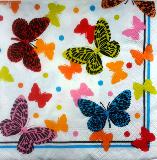 4  Vintage Paper Napkins , Lunch, Table , for Decoupage   - Butterflies Land Rainbow 2