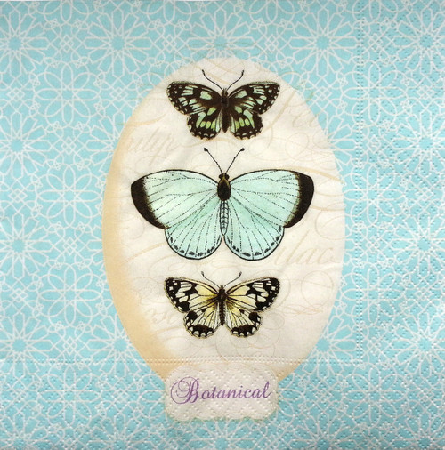 4  Vintage Paper Napkins , Lunch, Table , for Decoupage   - Butterflies Picture