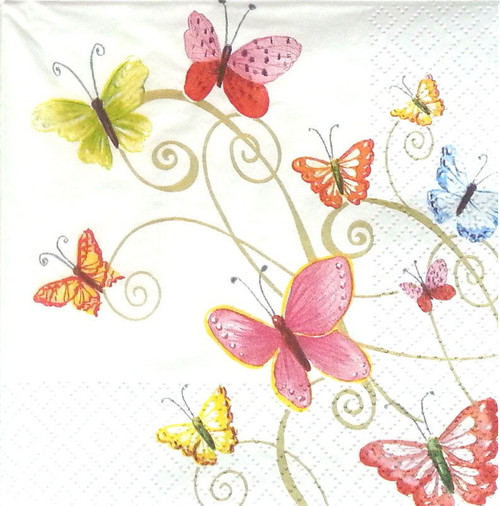 4  Vintage Paper Napkins , Lunch, Table , for Decoupage   -   Butterflies Dance