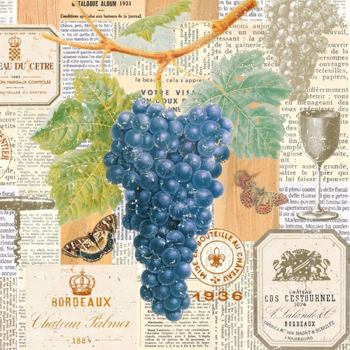 4 Single Vintage Table Paper Napkins     -   Grapes and Vine