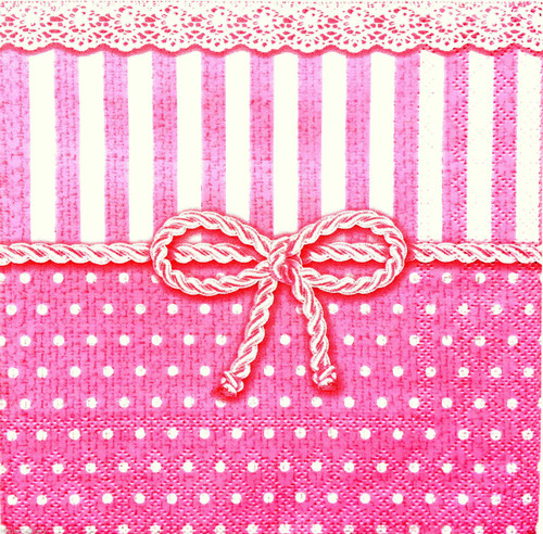4  Vintage Paper Napkins , Lunch, Table , for Decoupage   - Pink Stripes and Dots