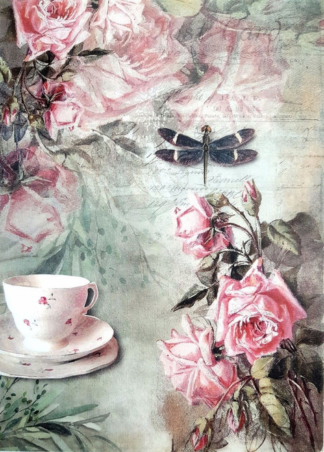 1 Sheet  of Rice Paper for Decoupage Craft Vintage - Alice Garden
