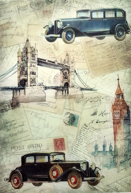 1 Sheet  of Rice Paper for Decoupage Craft Vintage - Cars in London