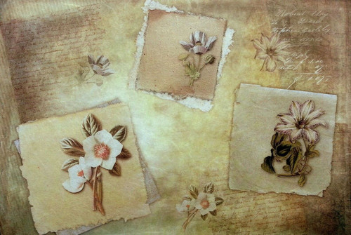 1 Sheet  of Rice Paper for Decoupage Craft Vintage - Vintage Flowers