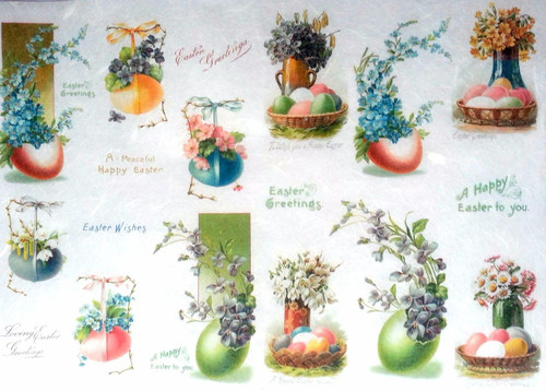 1 Sheet  of Rice Paper for Decoupage Craft Vintage - Vintage Easter Day1