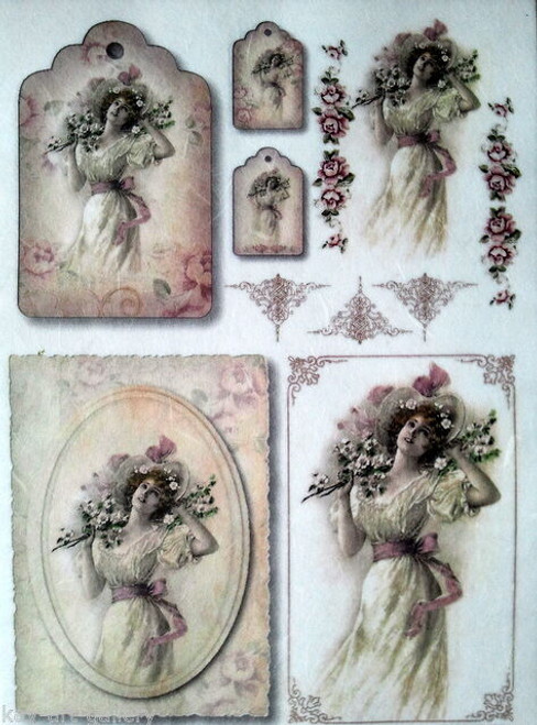 1 Sheet  of Rice Paper for Decoupage Craft Vintage - Vintage  Lady