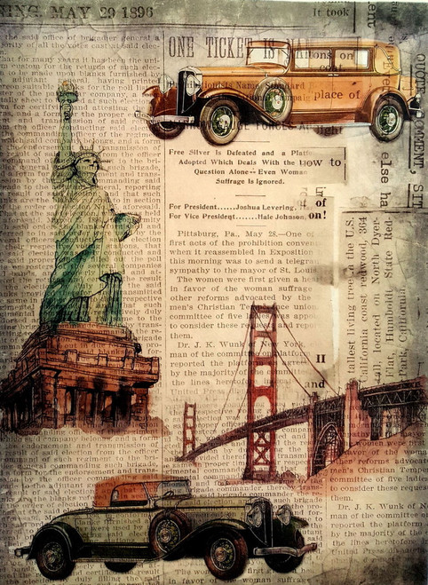 1 Sheet  of Rice Paper for Decoupage Craft Vintage  - Cars in New York