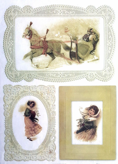 1 Sheet  of Rice Paper for Decoupage Craft Vintage  -  Journey Horses