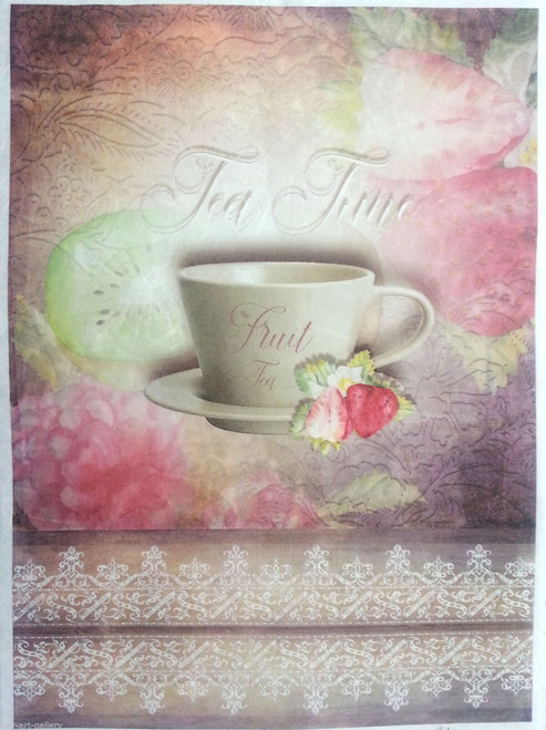 1 Sheet  of Rice Paper for Decoupage Craft Vintage  - Tea Time  Cup