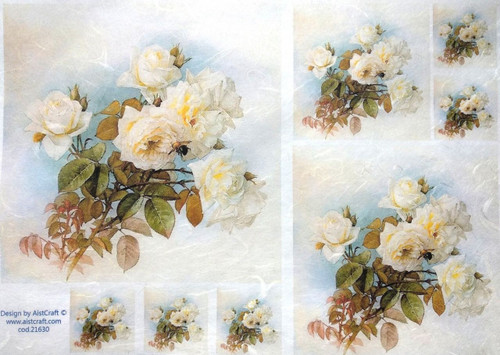 1 Sheet  of Rice Paper for Decoupage Craft Vintage  - Romantic Light Roses Mix