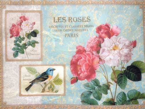 1 Sheet  of Rice Paper for Decoupage Craft Vintage  - Romantic  Lea Roses