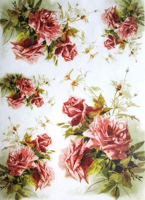 1 Sheet  of Rice Paper for Decoupage Craft Vintage  - Romantic  Roses