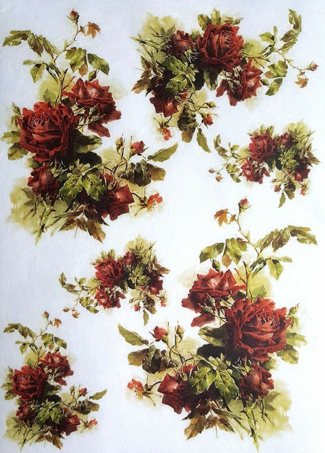 1 Sheet  of Rice Paper for Decoupage Craft Vintage  - Romantic  Roses 1