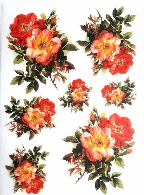 1 Sheet  of Rice Paper for Decoupage Craft Vintage  - Romantic  Roses 2