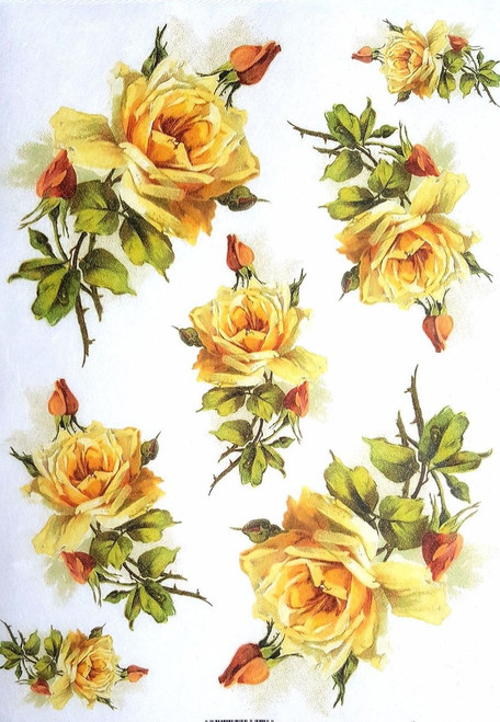 1 Sheet  of Rice Paper for Decoupage Craft Vintage  - Romantic  Roses 3