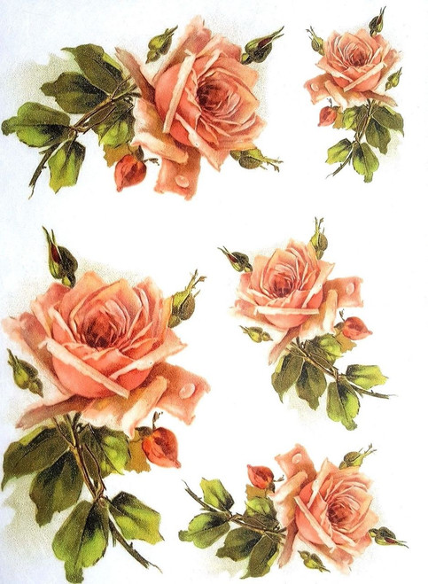 1 Sheet  of Rice Paper for Decoupage Craft Vintage  - Romantic  Roses 4