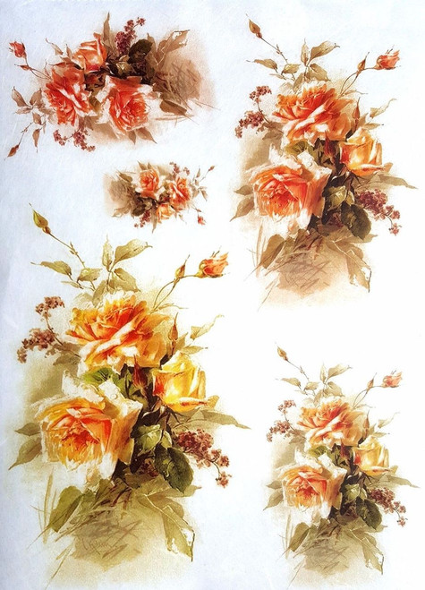 1 Sheet  of Rice Paper for Decoupage Craft Vintage  - Romantic  Roses 5