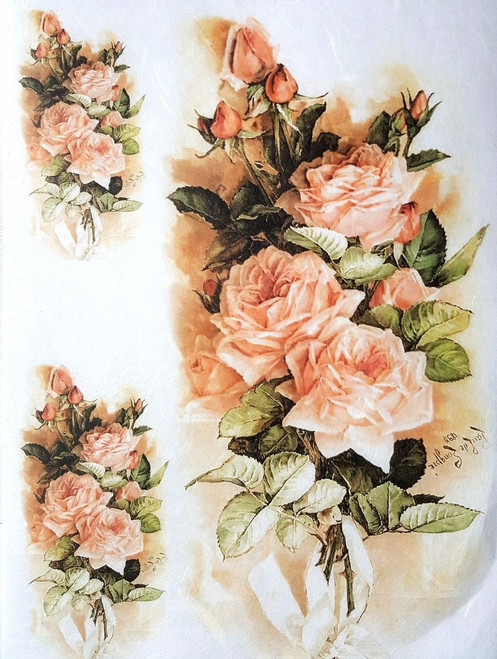1 Sheet  of Rice Paper for Decoupage Craft Vintage  - Romantic  Roses  6