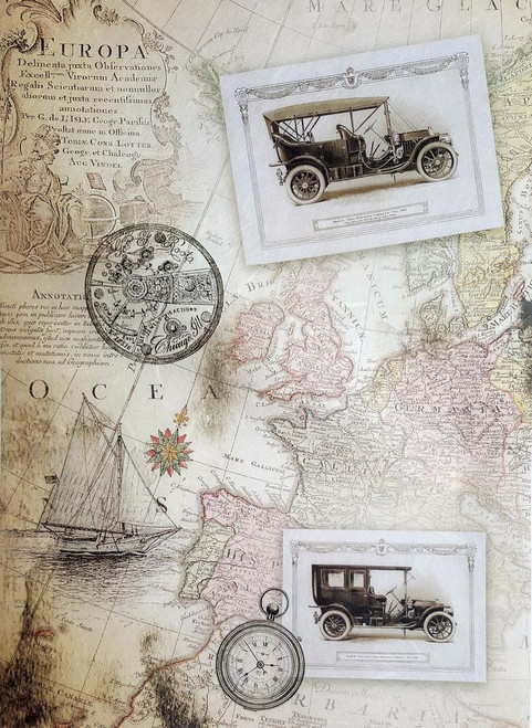 1 Sheet  of Rice Paper for Decoupage Craft Vintage  -  Vintage Map