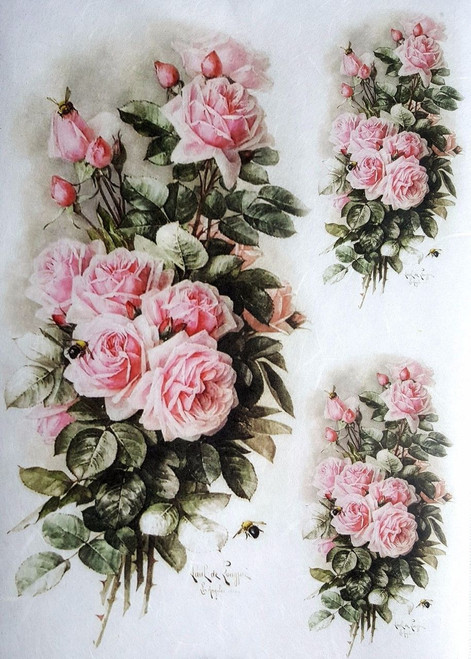 1  Sheet  of Rice Paper for Decoupage Craft Vintage  - Romantic Roses 8
