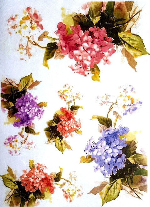 1  Sheet  of Rice Paper for Decoupage Craft Vintage  -  Hydrangea mix