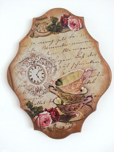 VINTAGE// RETRO style Handmade Wall Picture PLAQUE So British 2 DECOUPAGE