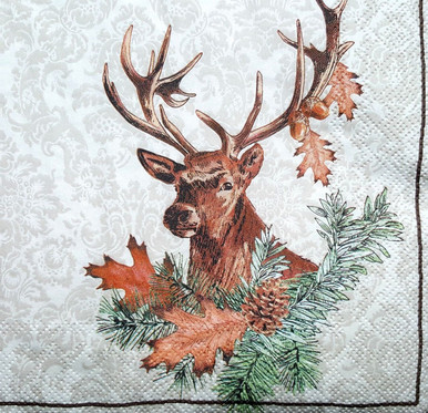 2 single Paper Napkins for DECOUPAGE Crafts Collection Party Birds Animals Deer Duck Wild Forest
