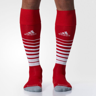 ADIDAS TEAM SPEED LARGE SOCCER SOCKS-RED FRONT