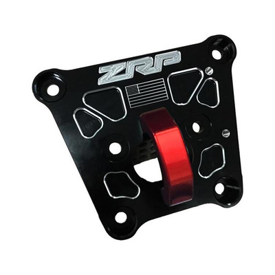 ZRP RZR Turbo S Radius Rod Plate, Billet Black w/ Red D-Ring 400067-R