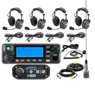 Rugged Radios RRP696 4-Place Intercom with Digital Mobile Radio and AlphaBass Headsets 696-4P-H28-RDM