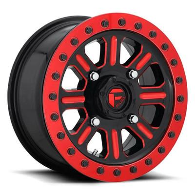 Fuel Offroad D911 Hardline Beadlock UTV Wheel 15X10 4X156 Gloss Black Red Tinted Clear D9111500A564