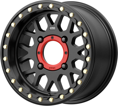 KMC Wheels KS235 Grenade Beadlock UTV Wheel 14X7 4X110 10 Satin Black KS23547040710