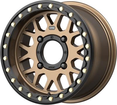 KMC Wheels KS235 Grenade Beadlock UTV Wheel 15X6 4X156 38 Satin Bronze KS23556044638