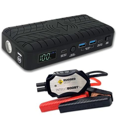 Rugged Geek RG1200 Safety Portable Jump Starter and Power Supply w/ Wireless Charging RG1200-S