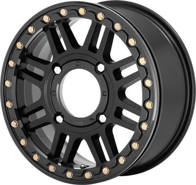 KMC Wheels KS250 Cage Beadlock UTV Wheel 15X6 4X156 38 Satin Black/Gloss Black Ring KS25056044738