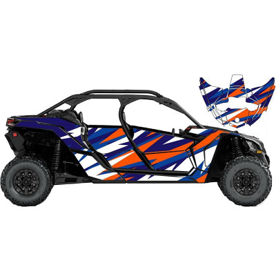 UTV Source Can-Am Maverick X3 MAX Wrap Kit or Fracture Orange/Blue X3MAXK4D-3