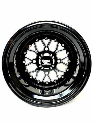 Packard Performance Wishbone UTV Wheel Set 15x7 and 15x11 4x137 Gloss Black PP-WB-711-SET-137