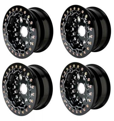 Alba Racing Baja Crusher Billet Beadlock UTV Wheels 4/136 or 15x7 or 52 Black AR-BC-027