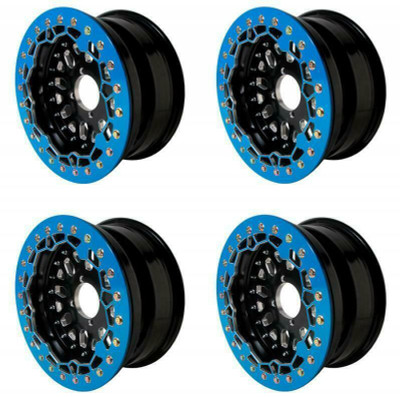 Alba Racing Baja Crusher Billet Beadlock UTV Wheels 4/110 or 15x10 or 55 Blue AR-BC-052